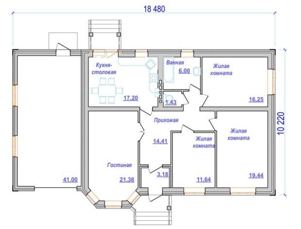 Проект одноэтажного дома Соколиная Гора