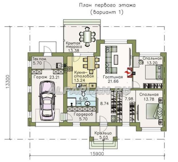 Проекты одноэтажных домов с гаражом Ганновер
