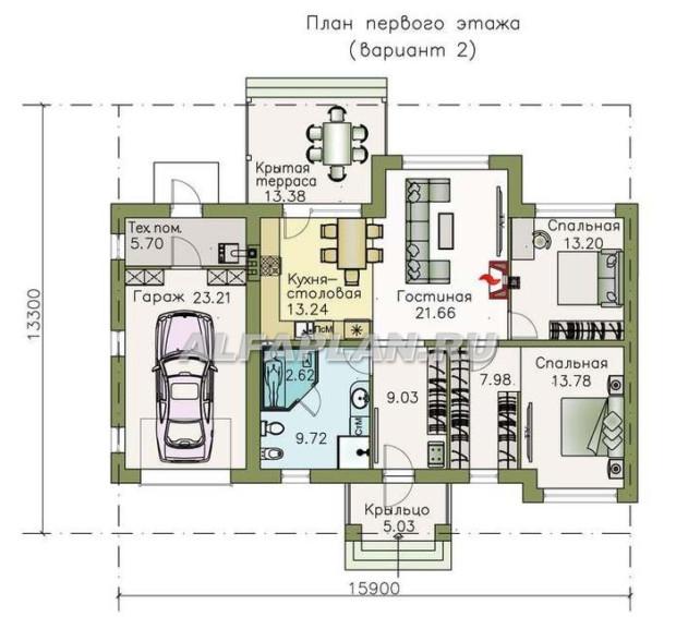 Проекты одноэтажных домов с гаражом Ганновер вариант 2