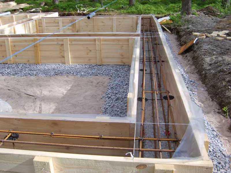 Ленточный фундамент для гаража готов под заливку бетоном