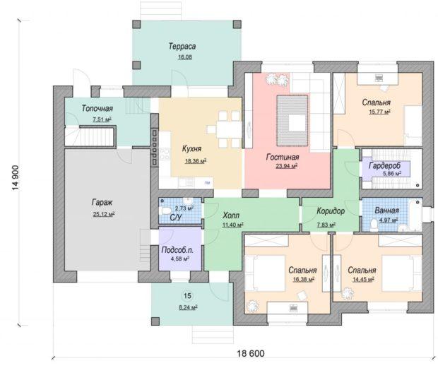 Проект одноэтажного дома с гаражом Комфорт