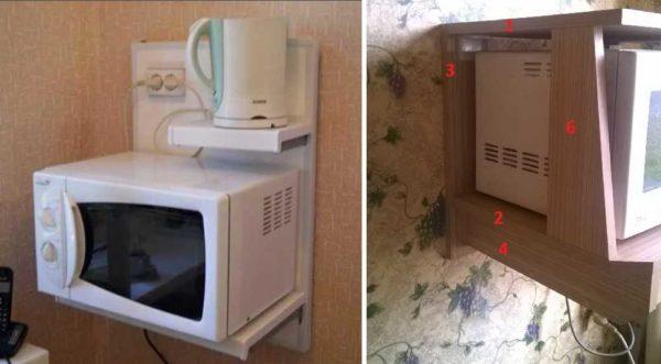 Интересный вариант: полка для микроволновки и электрочайника с выведенными розетками