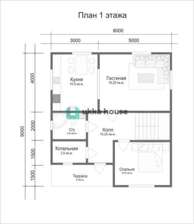 План первого этажа каркасного дома проекта Легион