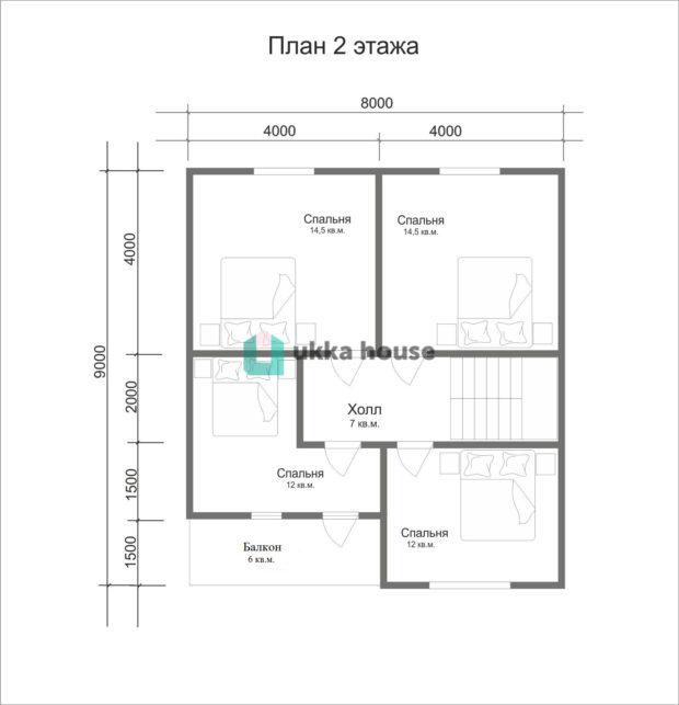 План второго этажа каркасного дома проекта Легион