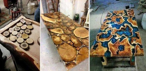 Сделать стол из спилов дерева и эпоксидной смолы можно в разных видах