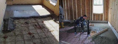 заливка бетонного пола в бане